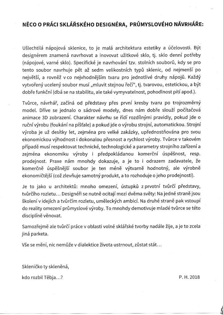 P. Homolka: Něco o práci sklářského designéra, průmyslového návrháře