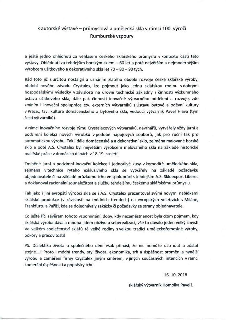 K autorské výstavě - Průmyslová a umělecká skla v rámci 100. výročí Rumburské vzpoury